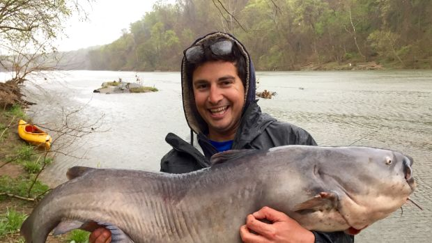 Jay Fleming and his big Potomac River catfish.