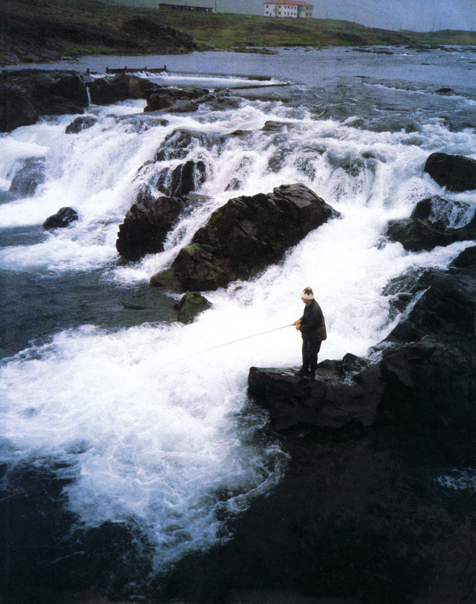 Guy de la Valdene fishing for salmon in Iceland.
