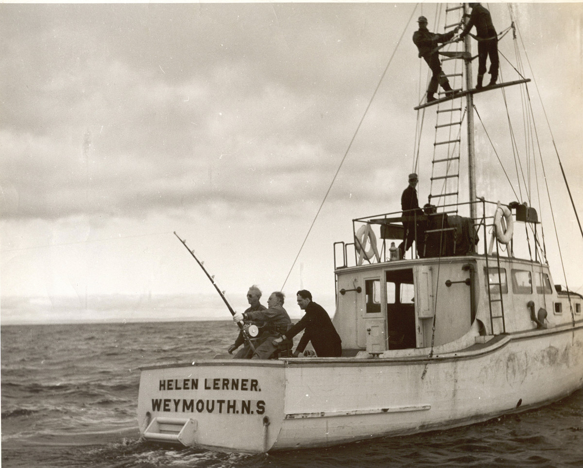 Michael Lerner fishes from the Helen Lerner in Nova Scotia, circa 1940s.