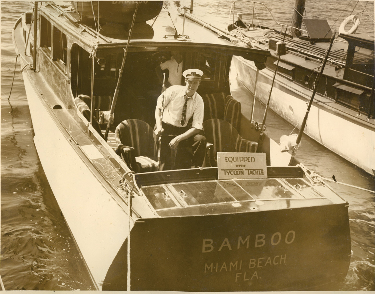 A sportfishing boat in Miami, circa 1930s