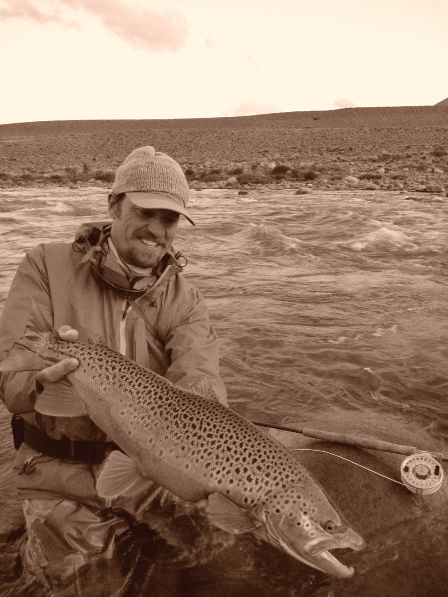 Brent with a nice brown on a remote Patagonia river.