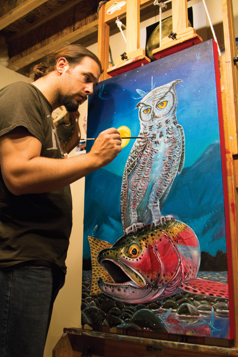 Artist Derek DeYoung at work