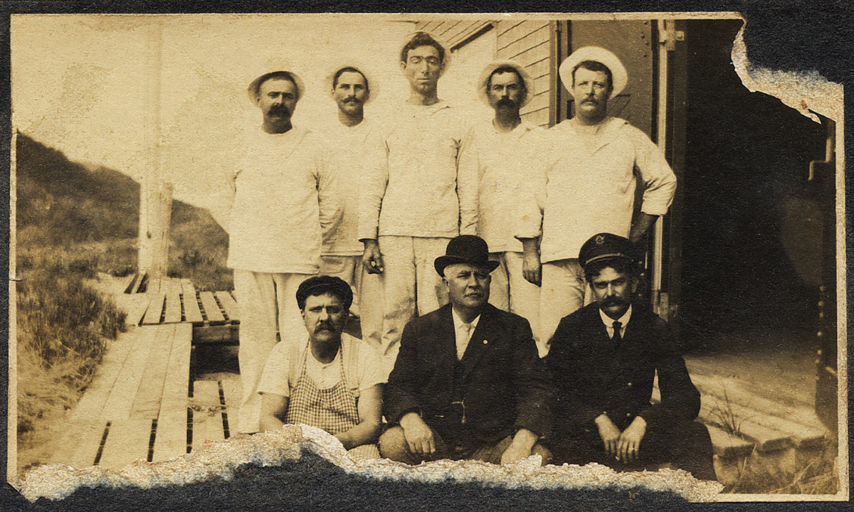 "William Bernard Sisson (back row, center) was a ""surfman"" in the U.S. Life-Saving Service (forerunner of the U.S. Coast Guard), a commercial fisherman — and a professional gambler."