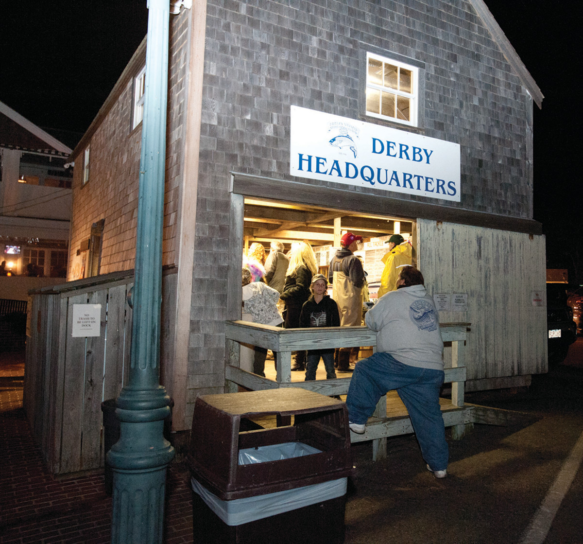 Martha's Vineyard Striped Bass and Bluefish Derby, final hour at the weigh-in station at the foot of Main stsreet in Edgartown.