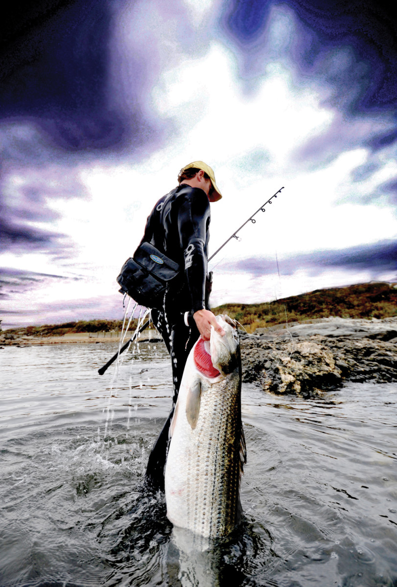 Frequent soakings are part of the game for those who fish from the autumn surf, but a nice fish makes it all worthwhile.