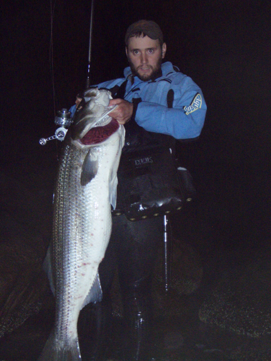 The longtime surf angler with a 50.25-pound striper.