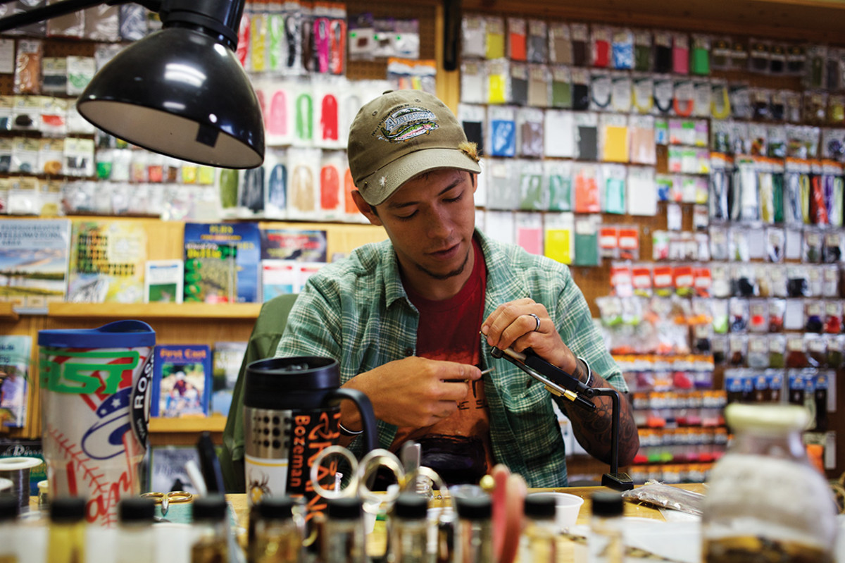 Miles Marquez cranks out a few patterns in Arrick's Fly Shop.
