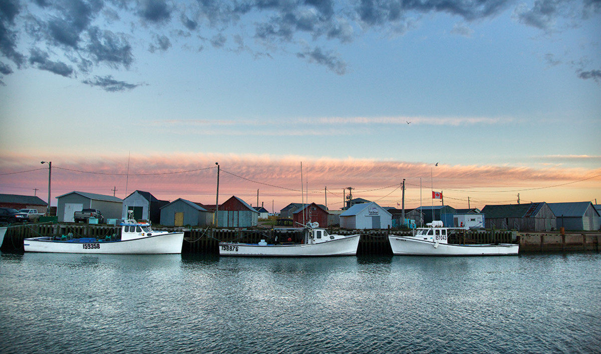 Sunrise at North Lake Harbour, where a trio of Down East workboats awaits another full day on the water.