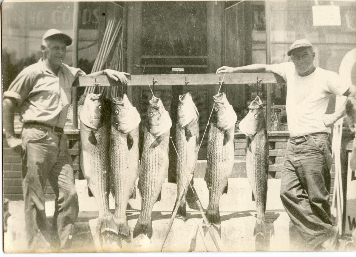 Two old school Staten Island striped bass sharpies from the 1940s – Capt. Bub Kohn, left, and mate Charlie Assencio.