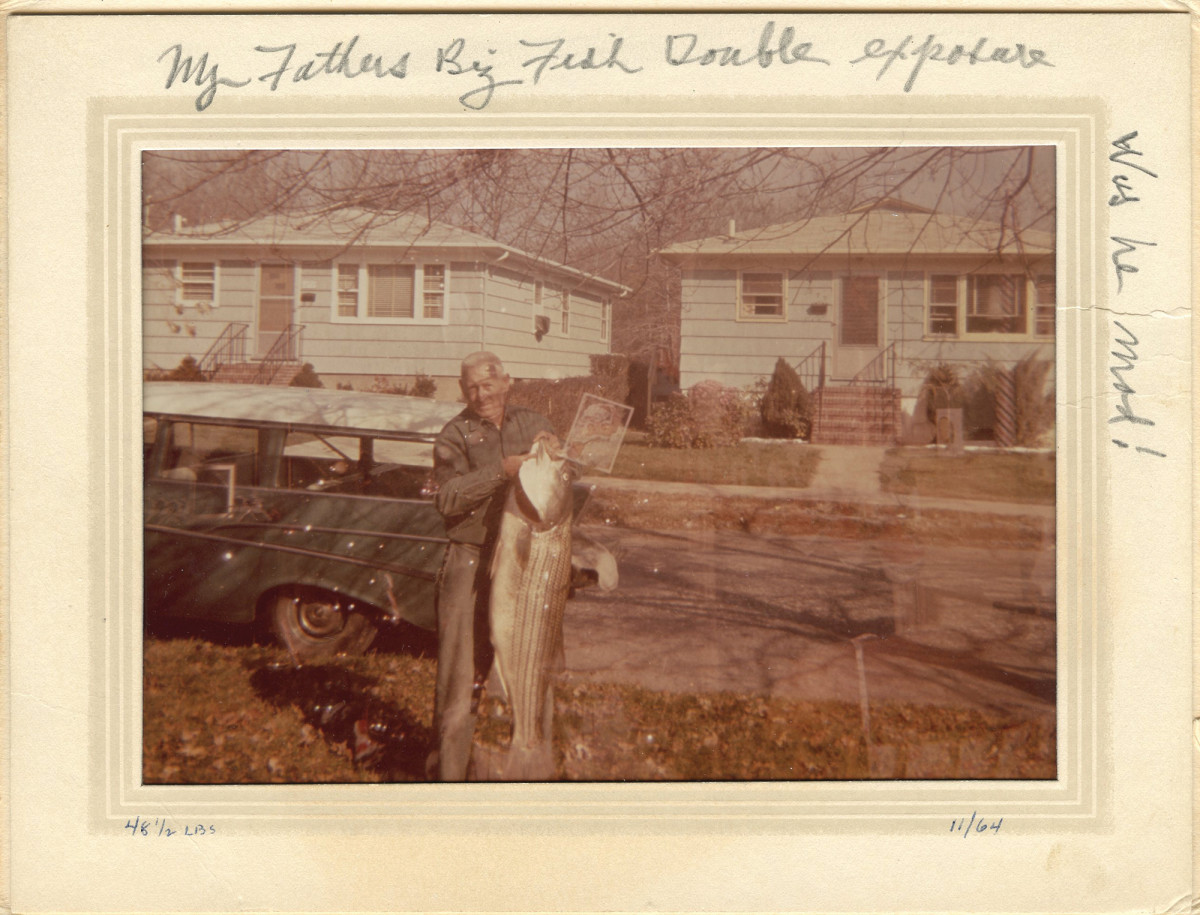Bub's largest striper weighed 48½ pounds and is immortalized in this double-exposed photo.