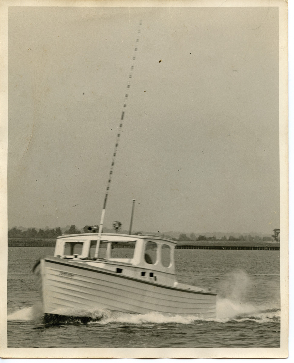 The skipper's 33-foot clinker-built sportfisherman, Rebound 1.