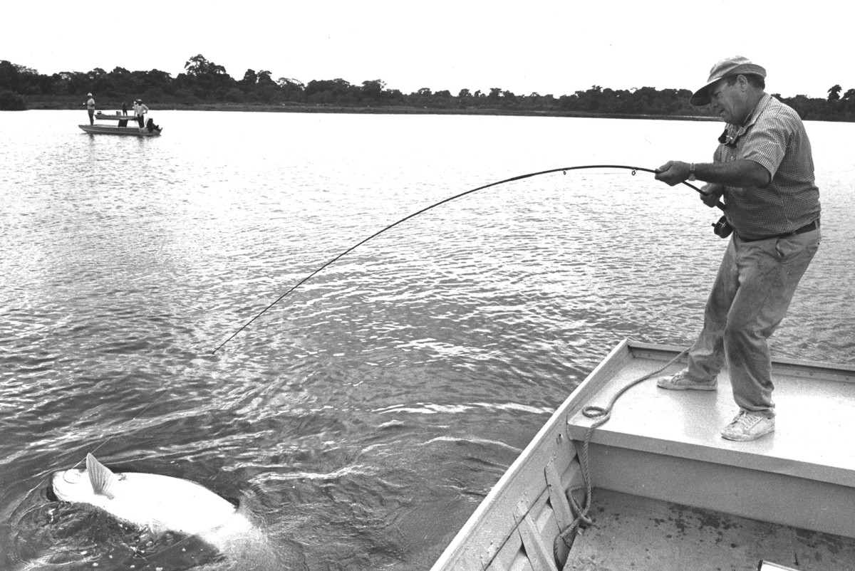 Lefty fighting a big tarpon.