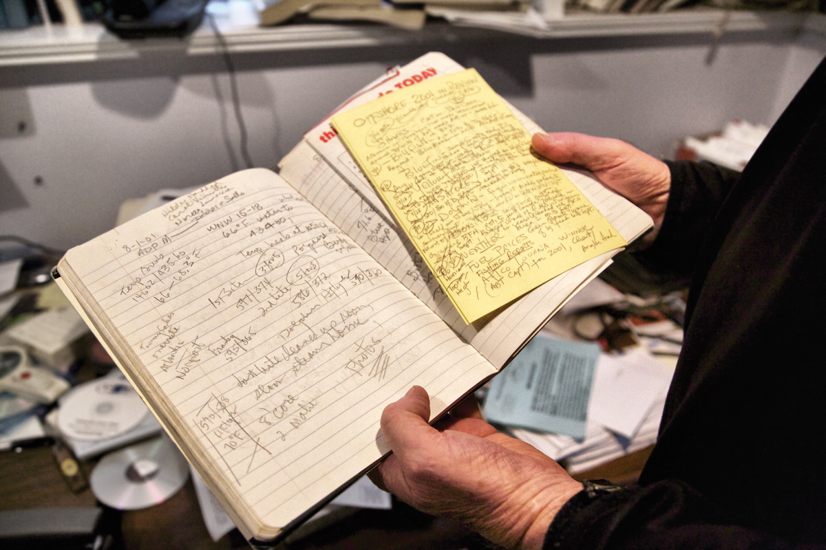 Captain Al Anderson kept notes and logs of his catches and observations.