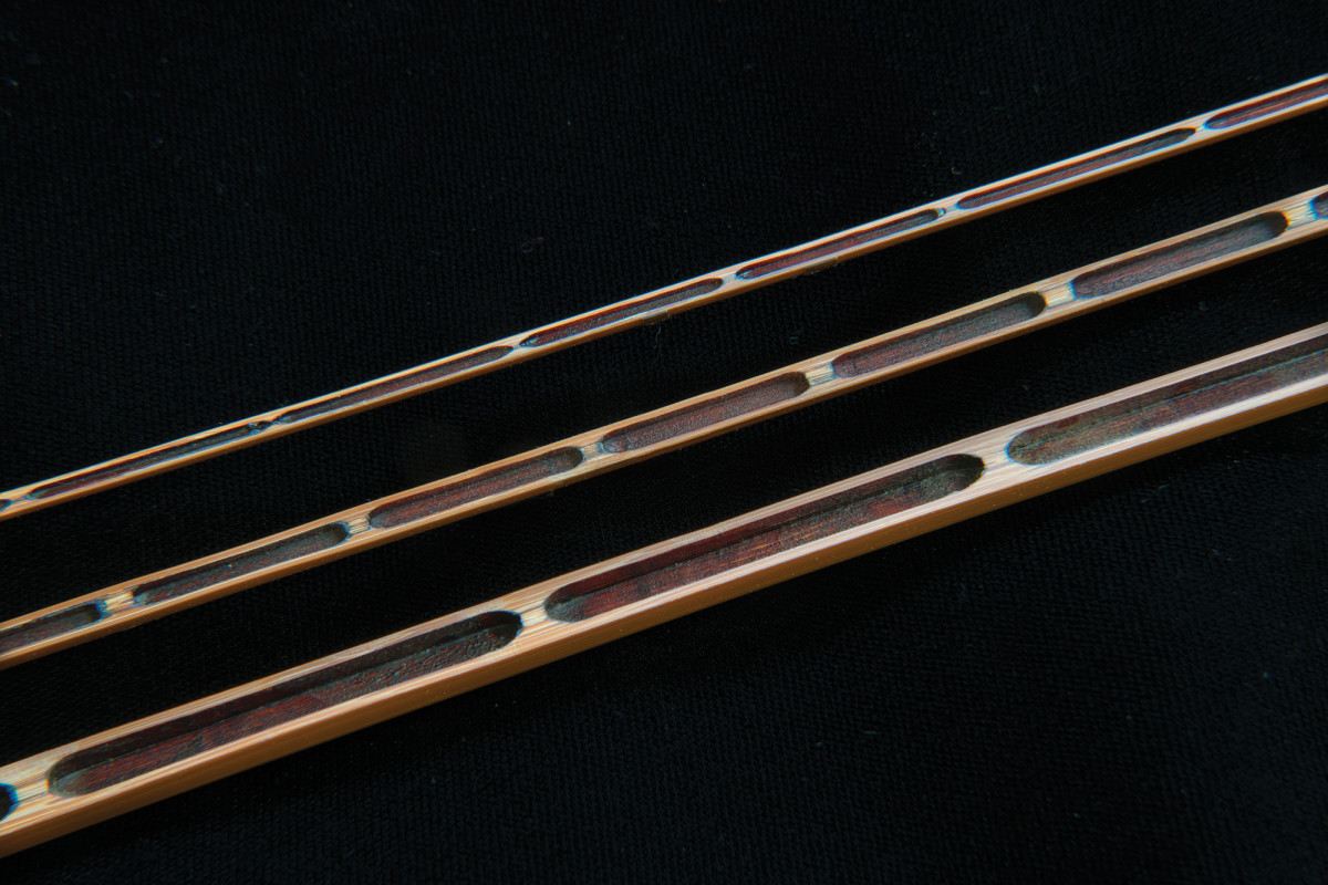 A cutaway view of the unique hollow-building process used by Per Brandin in constructing his bamboo fly rods. Apart from being lighter, the technique affords great touch and rod control.
