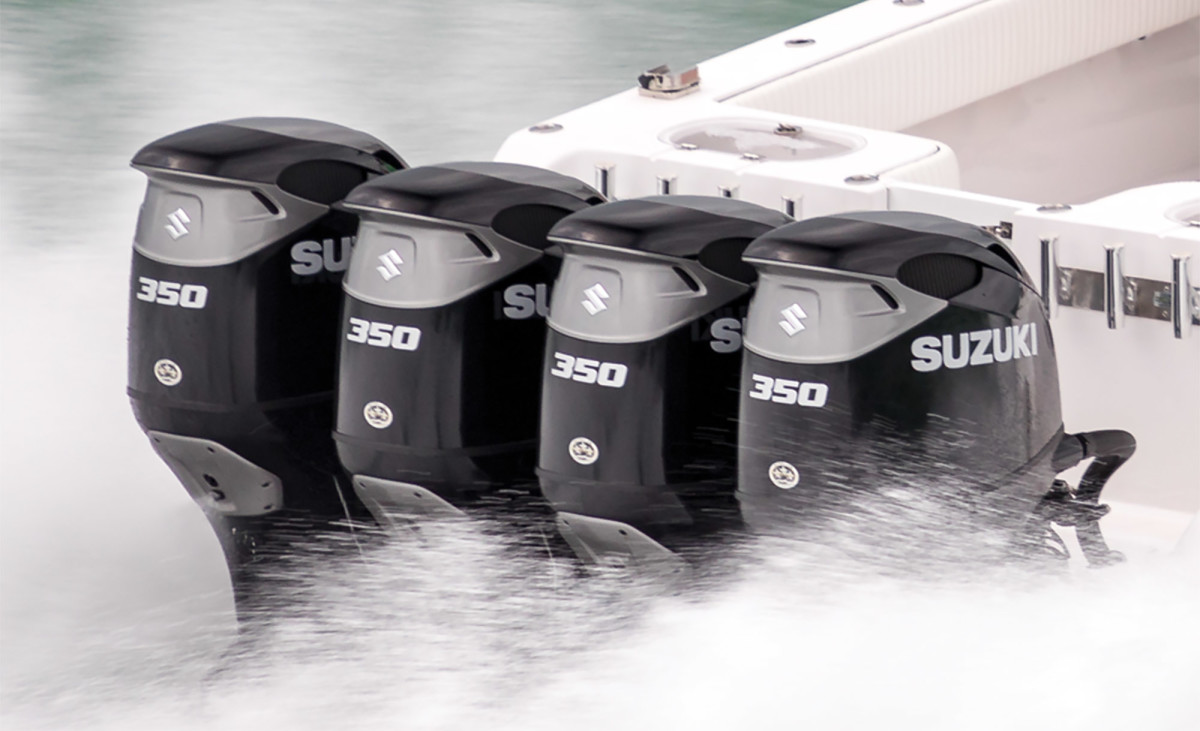 "Suzuki's DF350A uses twin ""contra-rotating"" propellers to improve maneuverability on big boats"