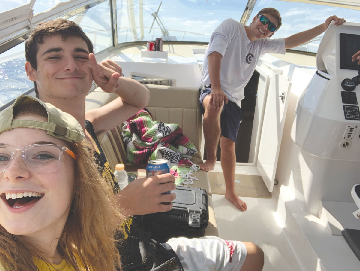 Mollie, David and Max — the writer's kids and favorite fishing crew just before they departed for college.