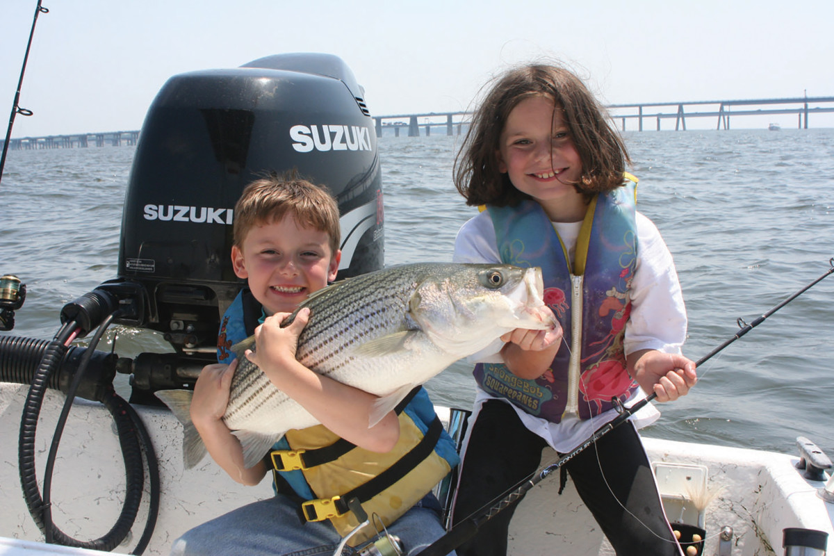 Dad thought this striper was a ray and wanted to break it off. Max and Mollie knew better.