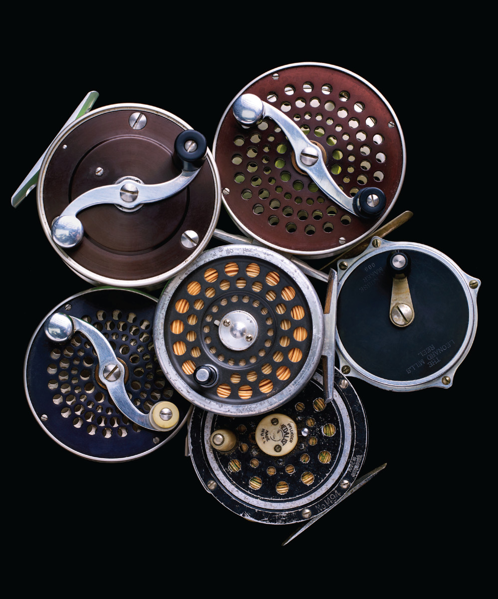 Some of Henry's fly reels — including several Bogdans.