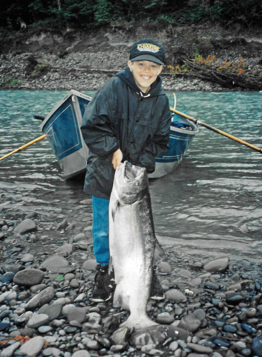 Kris Olsen Jr. with a Hoh River spring chinook, circa 1996.