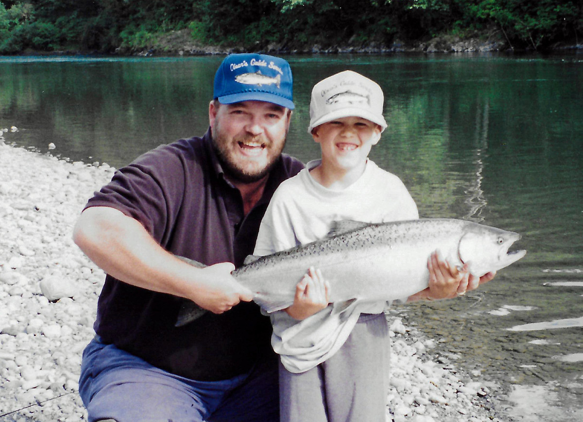 Kris Jr. with his first Chinook Salmon in 1995