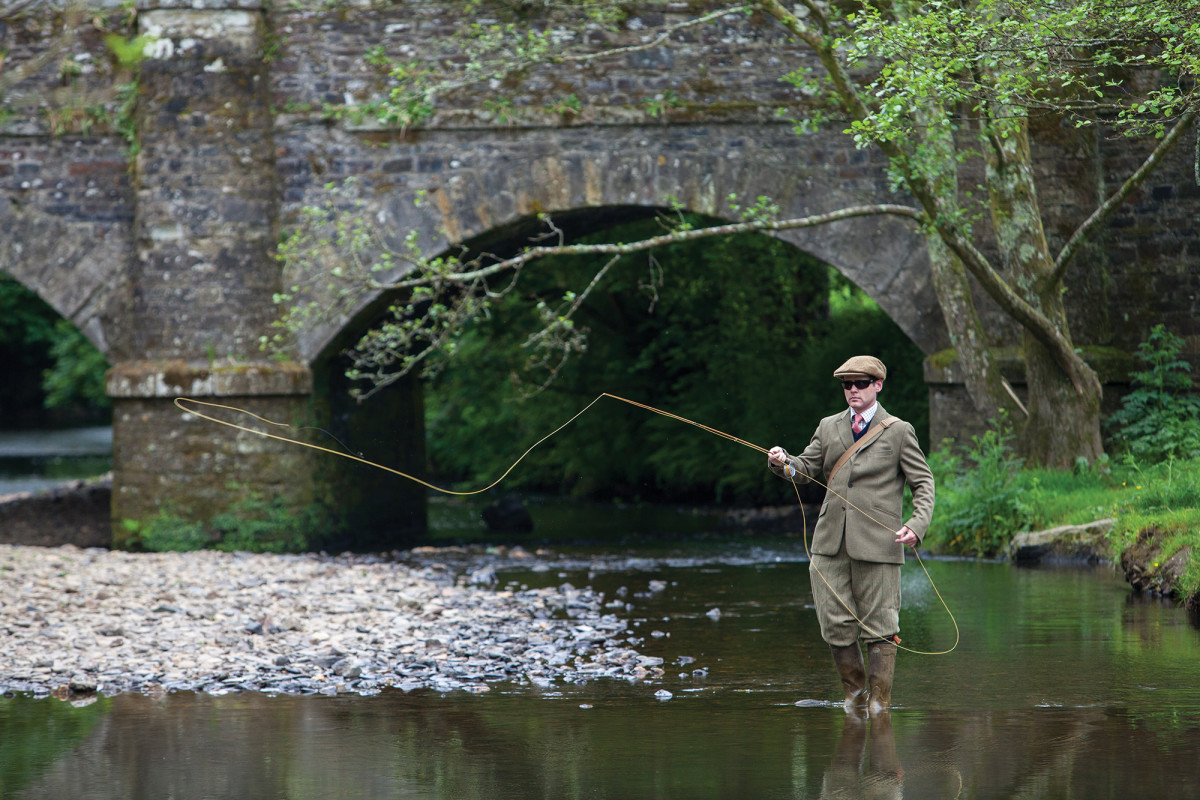 Though fishing on some of the more exclusive English waters can be as formal as high tea, tweeds at the Arundell Arms are optional. Alex Jones, one of the instructors at the sporting hotel, casts a line on the Thrushel River.