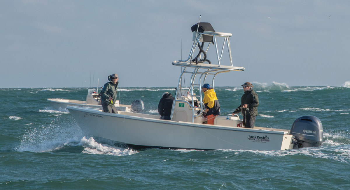 Capt. Sarah Gardner guides a trio of anglers who came from Finland to fish for false albacore
