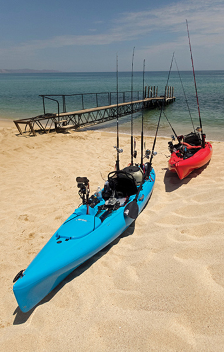 "The kayak fishing ""fleet"" at the ready."