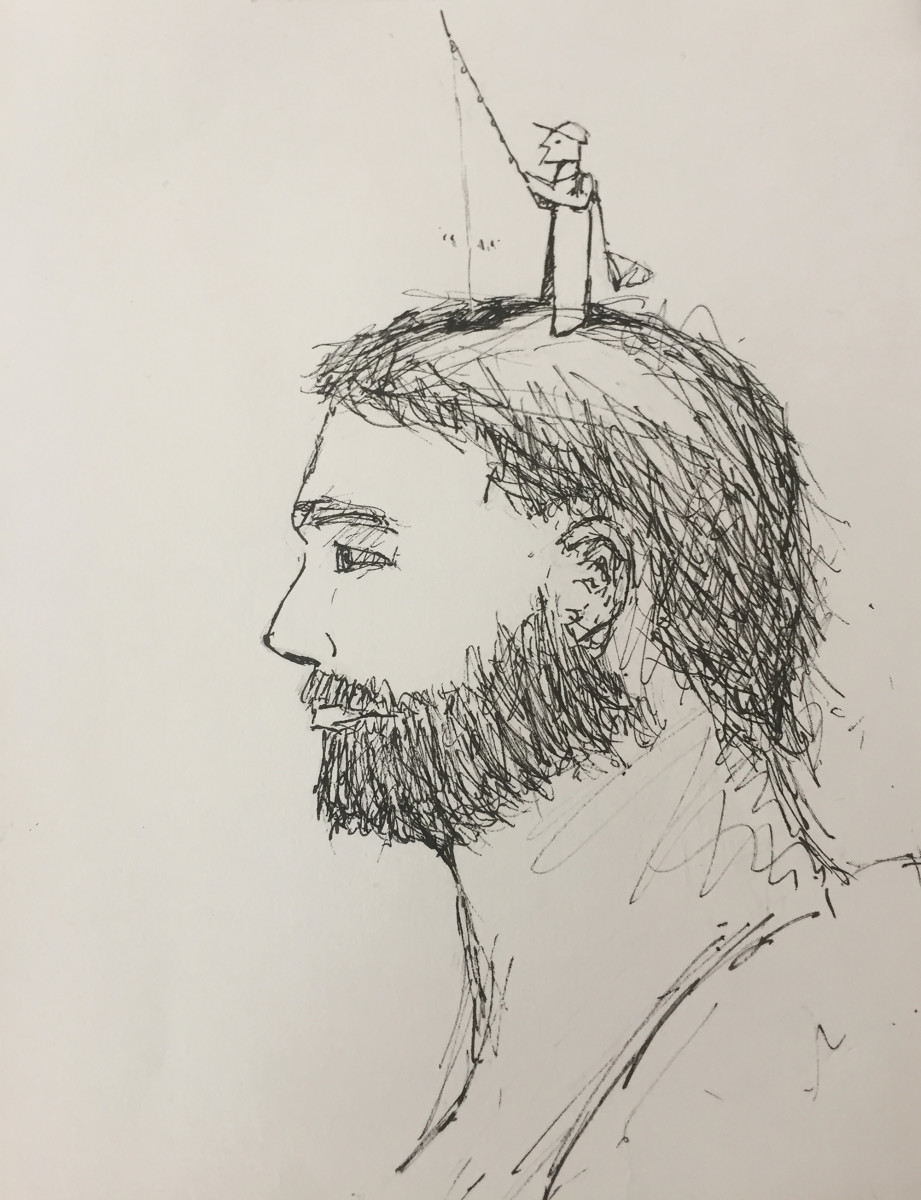 The writer's brother Chris sketched this portrait in the ICU.