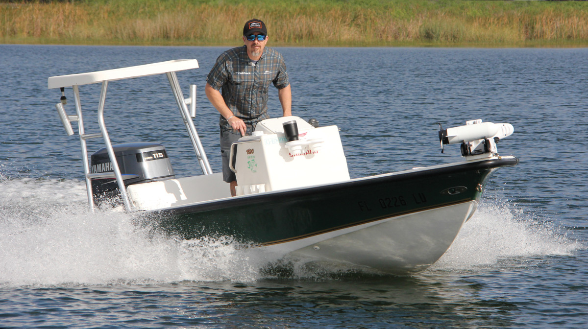 Charlie Levine and his 18-foot Eagle flats boat