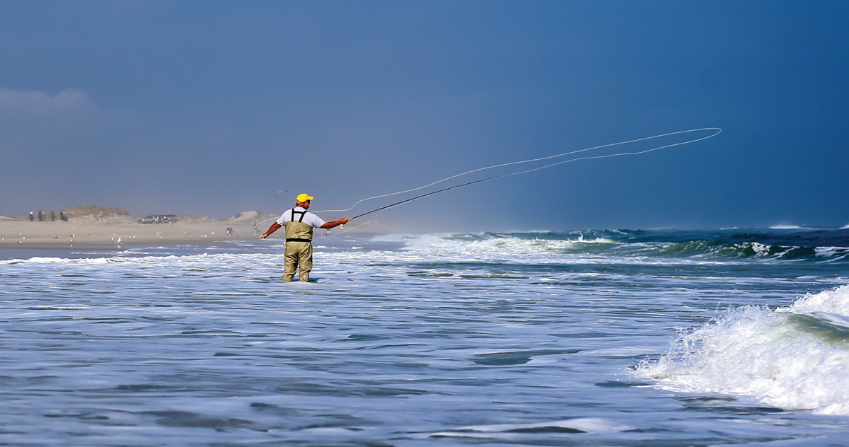 A world-class caster, Bob Popovics launches 60 feet of fly line into the surf at New Jersey's Island Beach State Park.