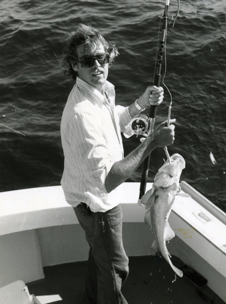 "Capt. Barry Gibson with a ""market"" cod taken aboard his charter boat Shark II more than 40 years ago."