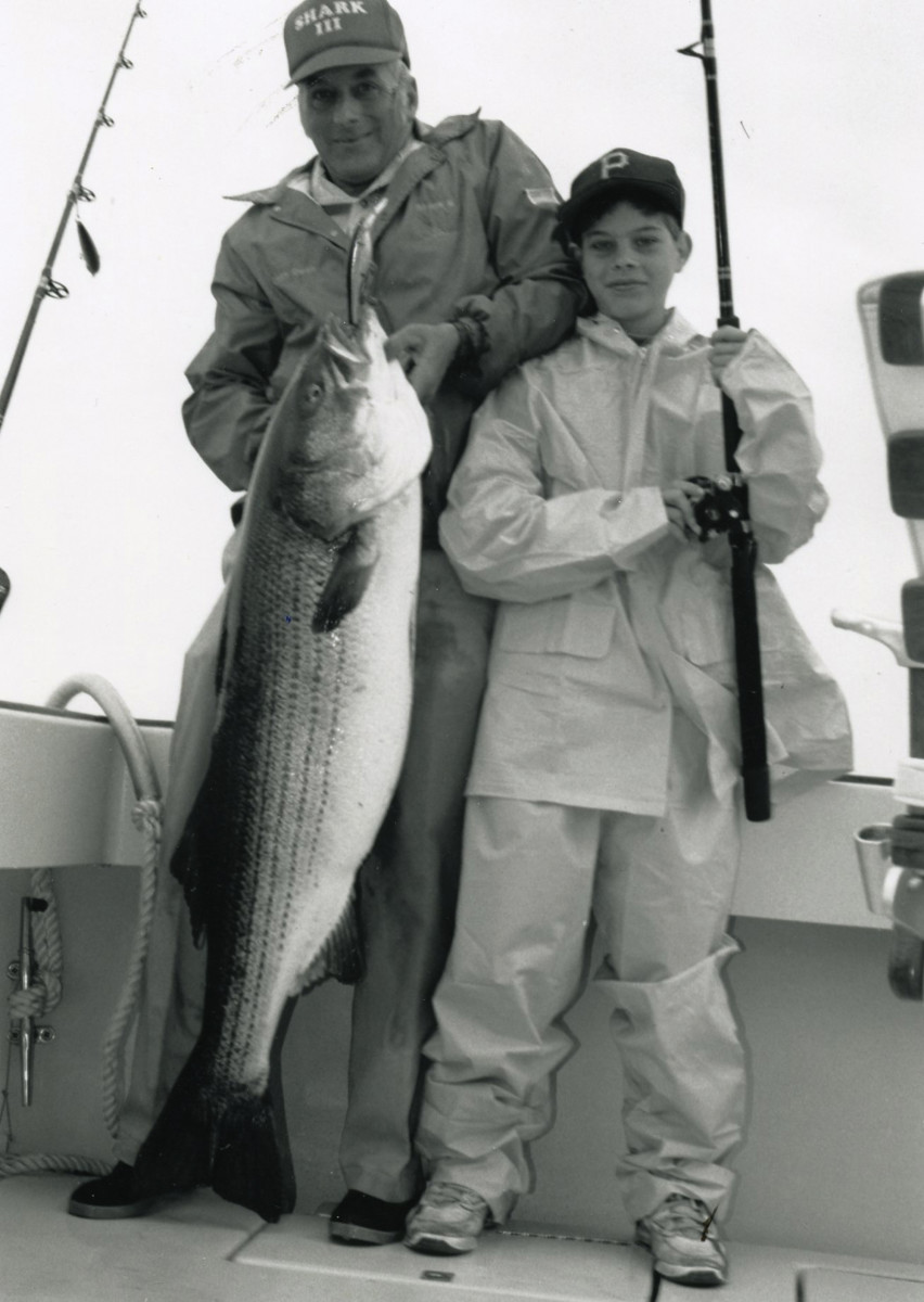 Mate Dean Krah and a young charter customer with a 45-pound striped bass taken a week after the loss of a similar size fish sent the boys from Allied Container home empty-handed.