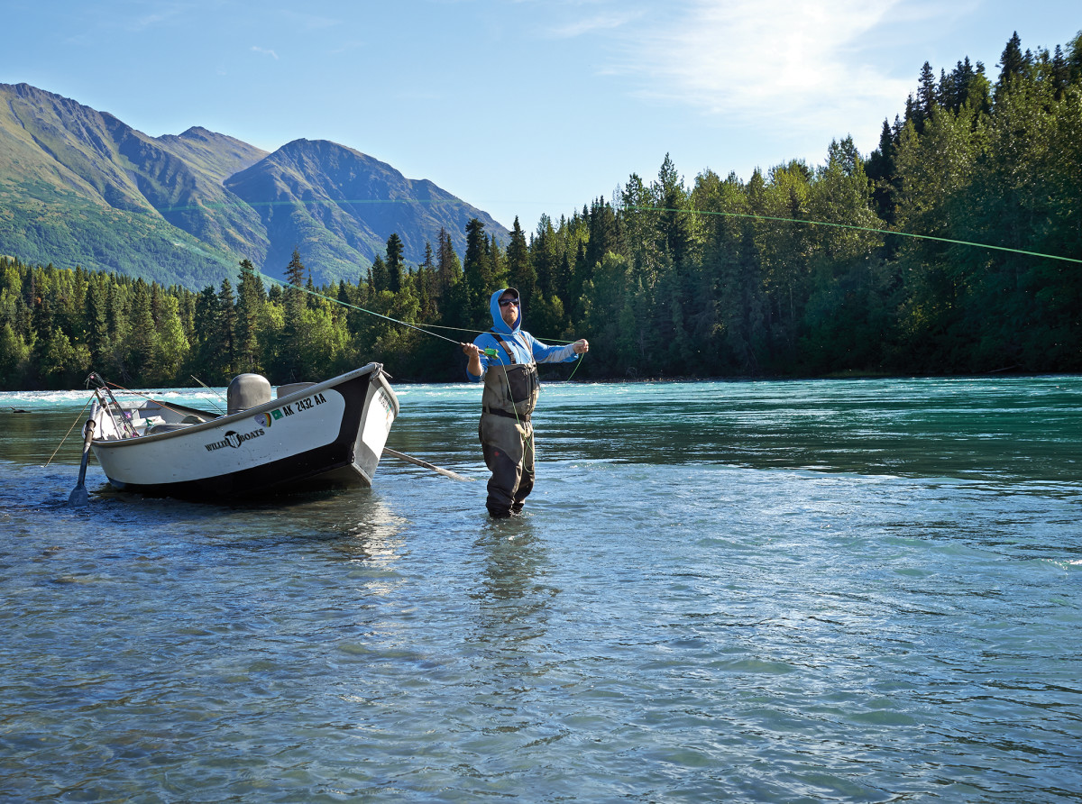 Guide Grant Reynolds demonstrates his double haul on the Kenai River.
