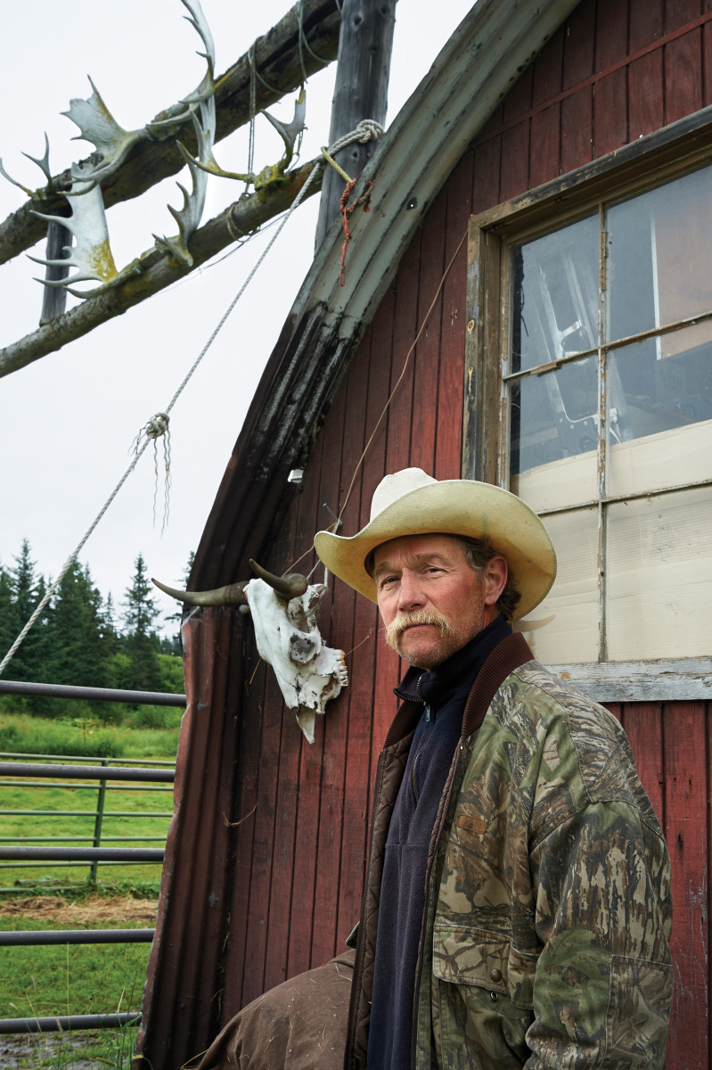 Mark Marette, who guides wilderness horseback rides, at his ranch south of Homer.