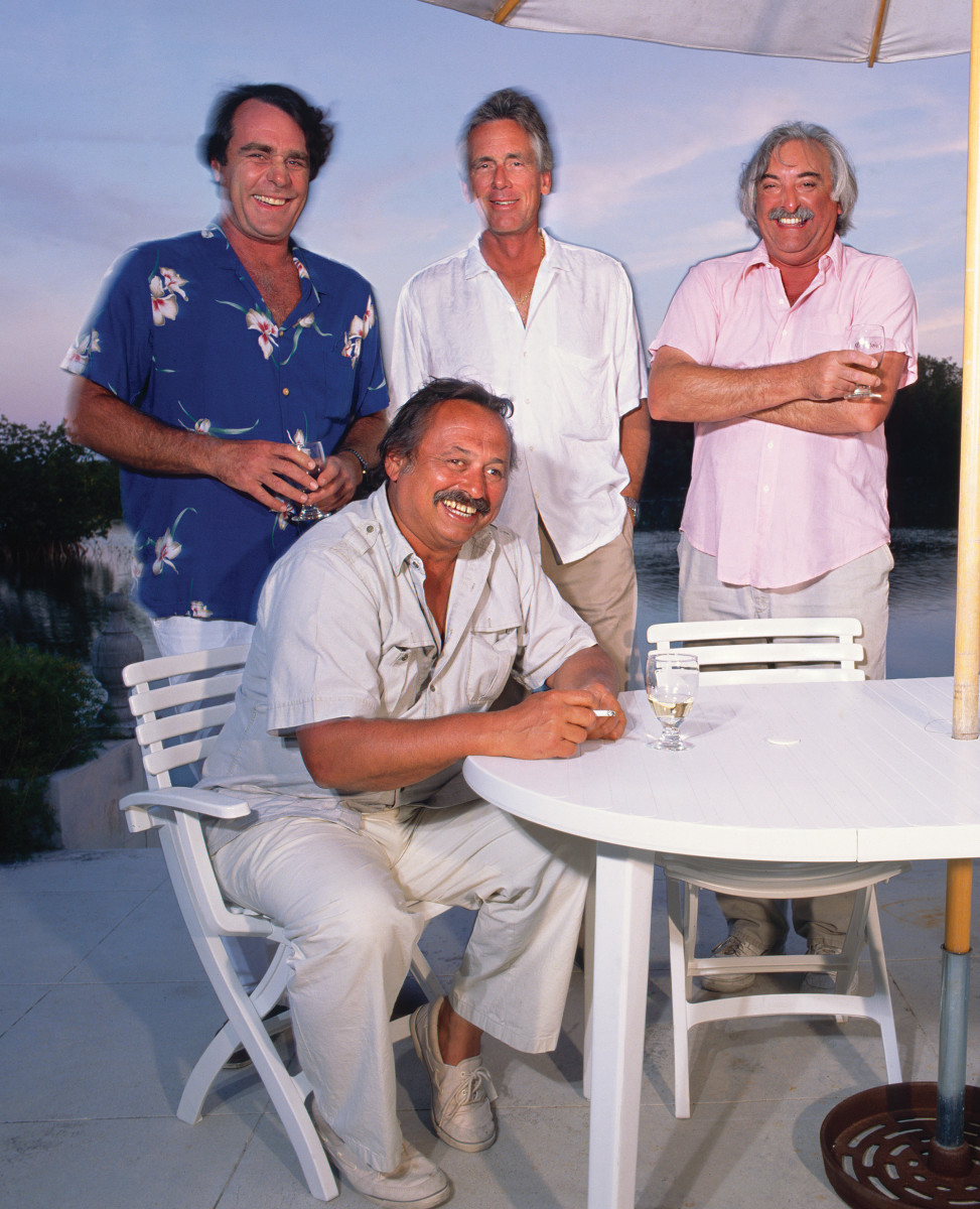 (From left) Guy de la Valdène, Jim Harrison, Thomas McGuane and Russell Chatham in Key West in 1988.