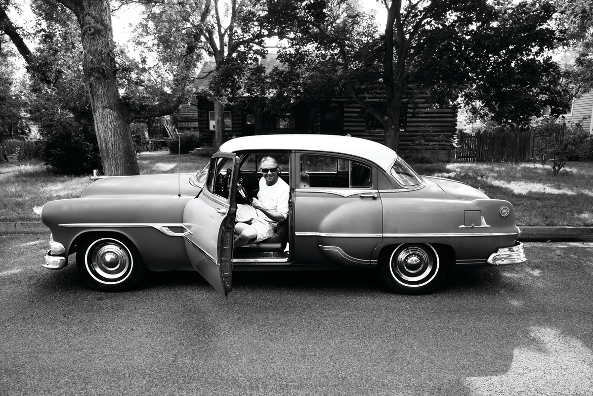 Lahren chilling in his '53 Pontiac Chieftain Deluxe.