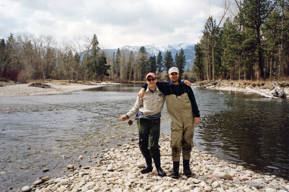 """As adolescents, Chris Dombrowski (right) used to blindfold Alex Lafkas before taking him to """"secret"""" bass ponds and smallmouth streams."""