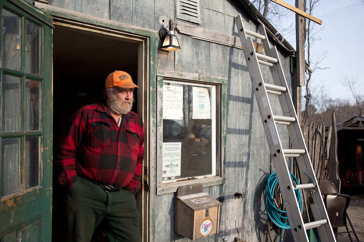Jim McPherson is a veteran smelt-camp operator who runs fish shanties in Bowdoinham, Maine.