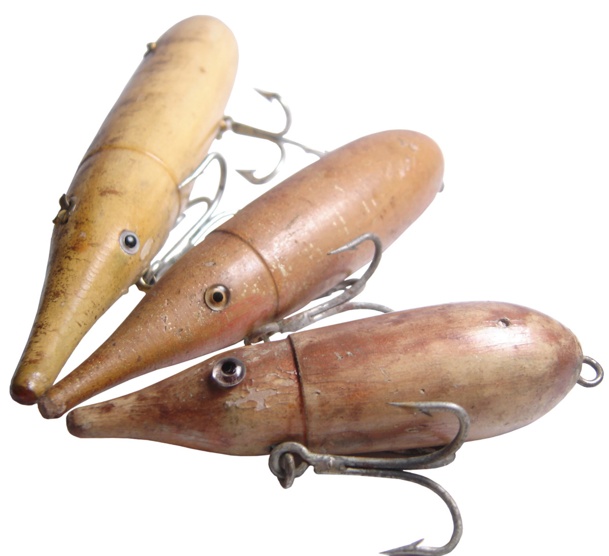 Three sizes of the Norris Jet Squid from the collection of  Dr. Frank Richardson.