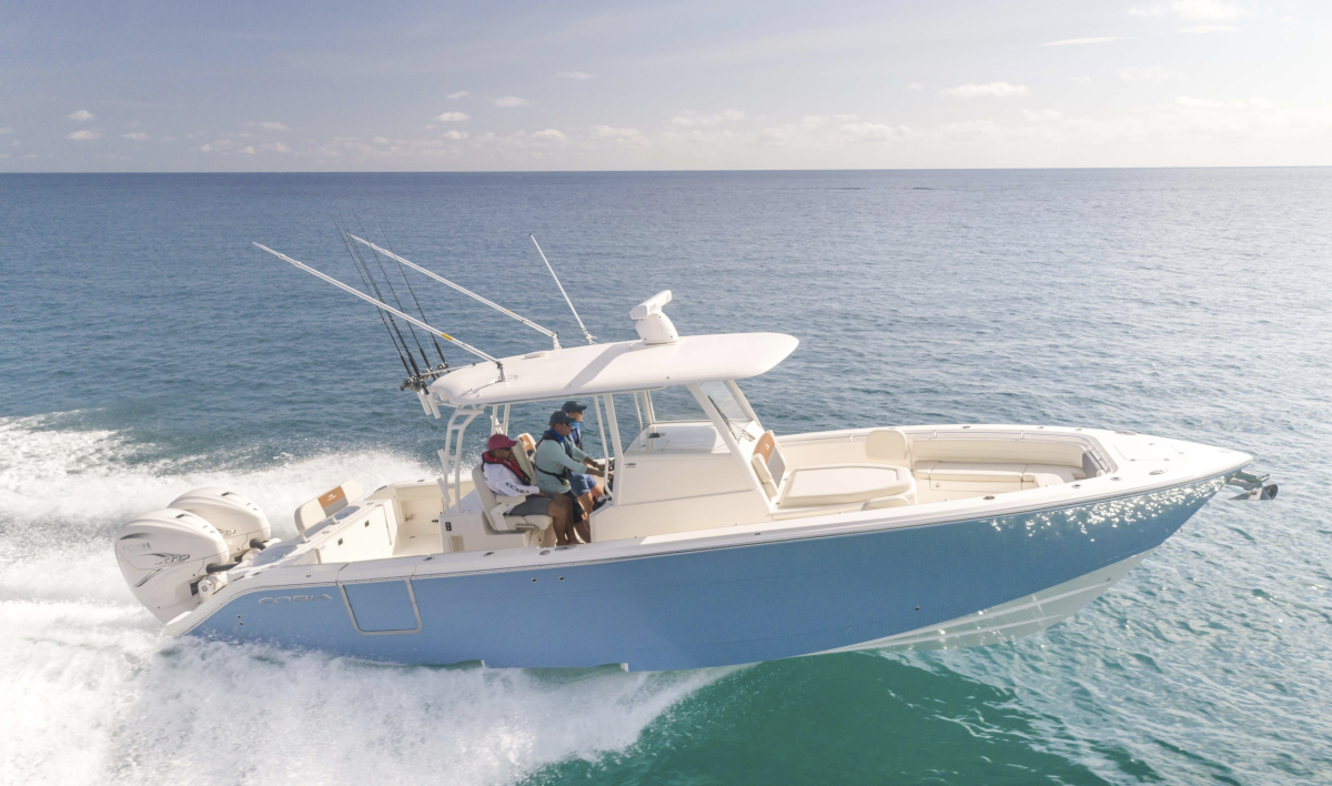 A Cobia 350 Center Console, one of the brand's latest offerings.