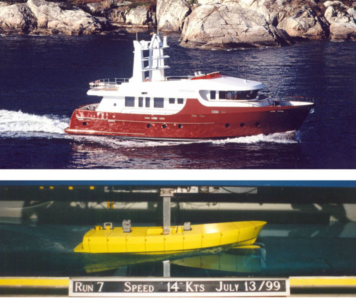 """Cape Scott 86 – MV """"Amnesia IV"""" - The trip from Vancouver, B.C. to San Diego, CA took 7 ½ days with an average speed of 9.6 knots over the ground. With generator run time included we averaged 3 litres per mile (6.25 US gal/ hr). Even in 40+ knot winds and really big seas the boat handled very well. From the delivery trials Sept. 20, 2004."""