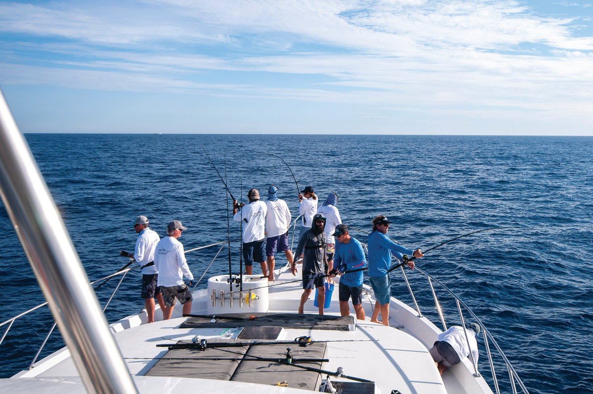 Anglers tangle with multiple striped marlin—assembly-line style.