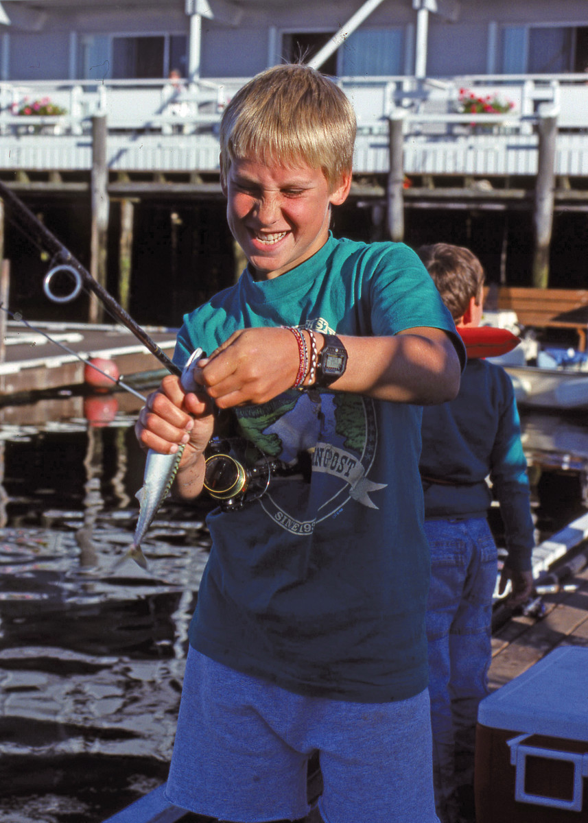 Kids have a blast catching mackerel.