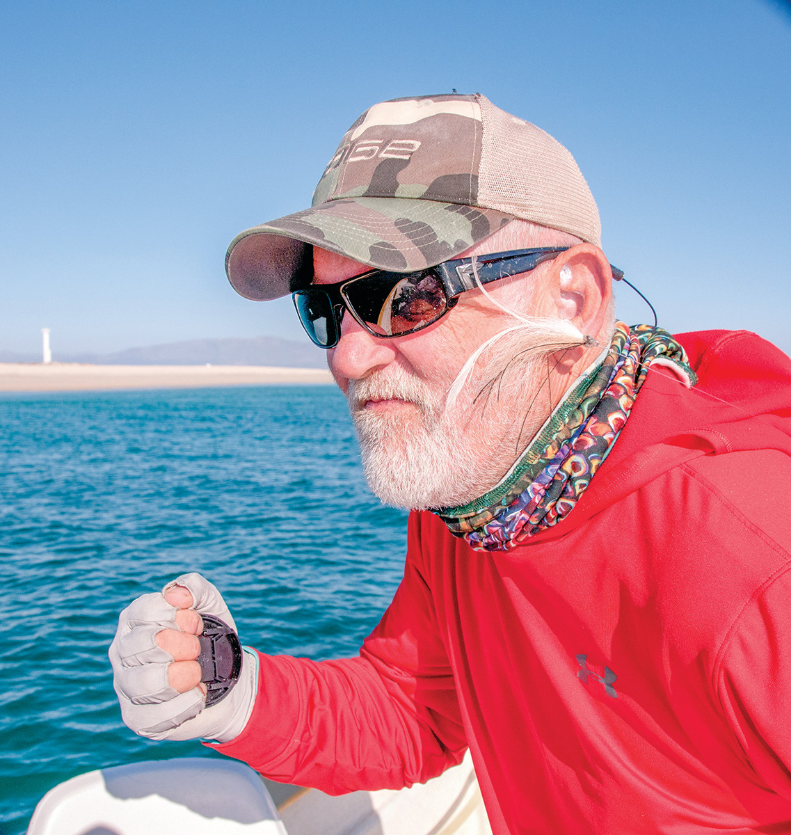 Horsley's enthusiasm for a tailing roosterfish landed this fly in his ear in Baja.