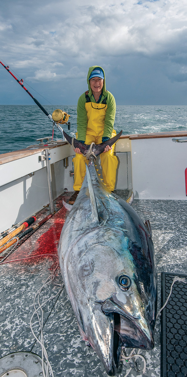 Among the many fish Gardner has wrestled with is this 400-pound Atlantic bluefin tuna.
