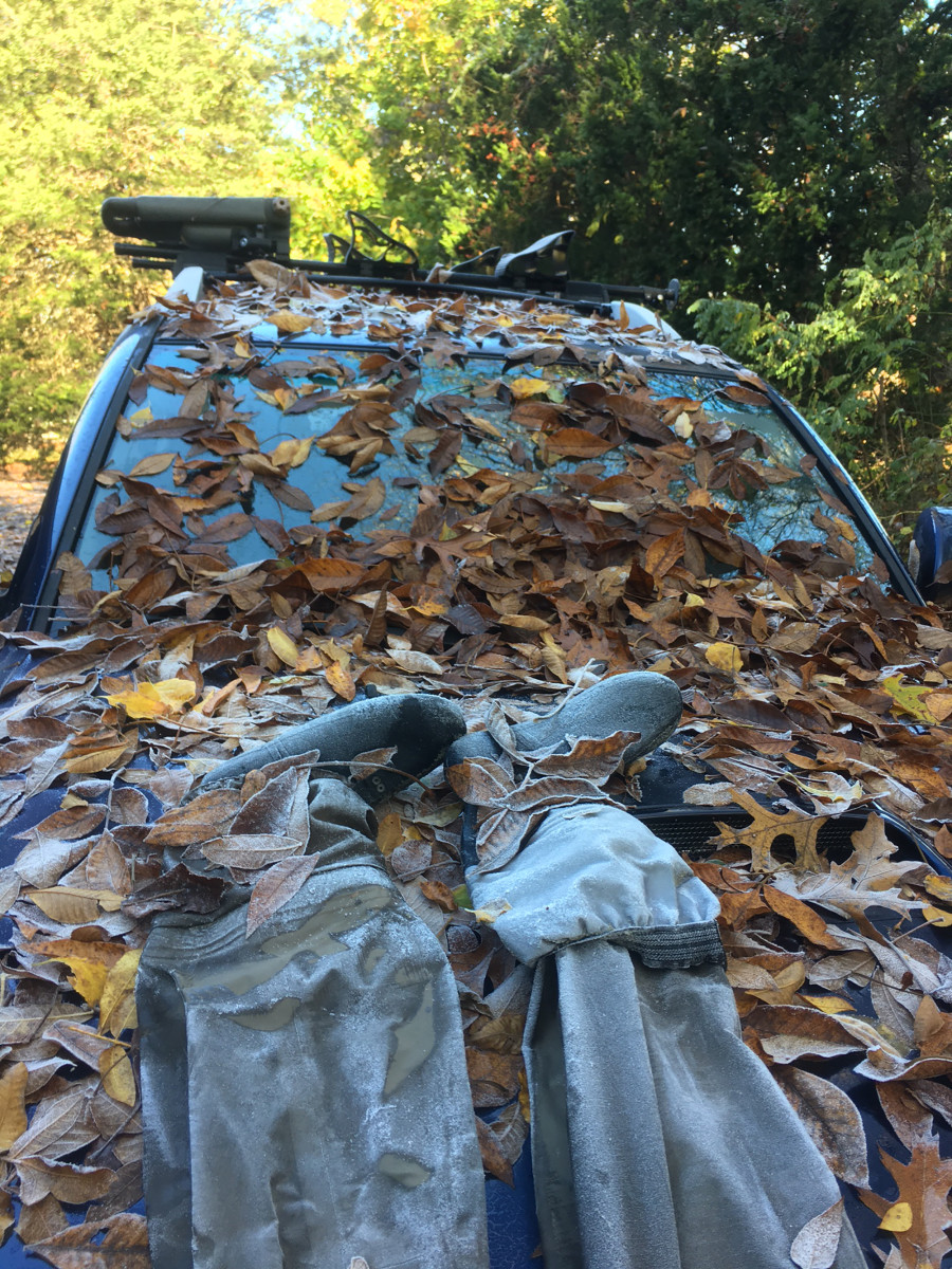 The author's waders frozen to his truck.