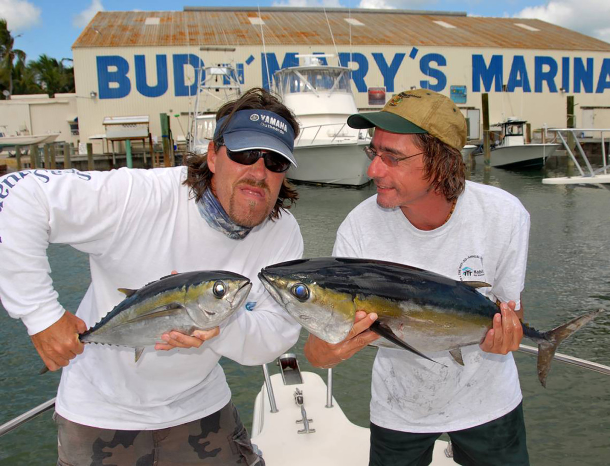 Cal Sutphin (left) and Larry Kahn with a pair of blackfin.