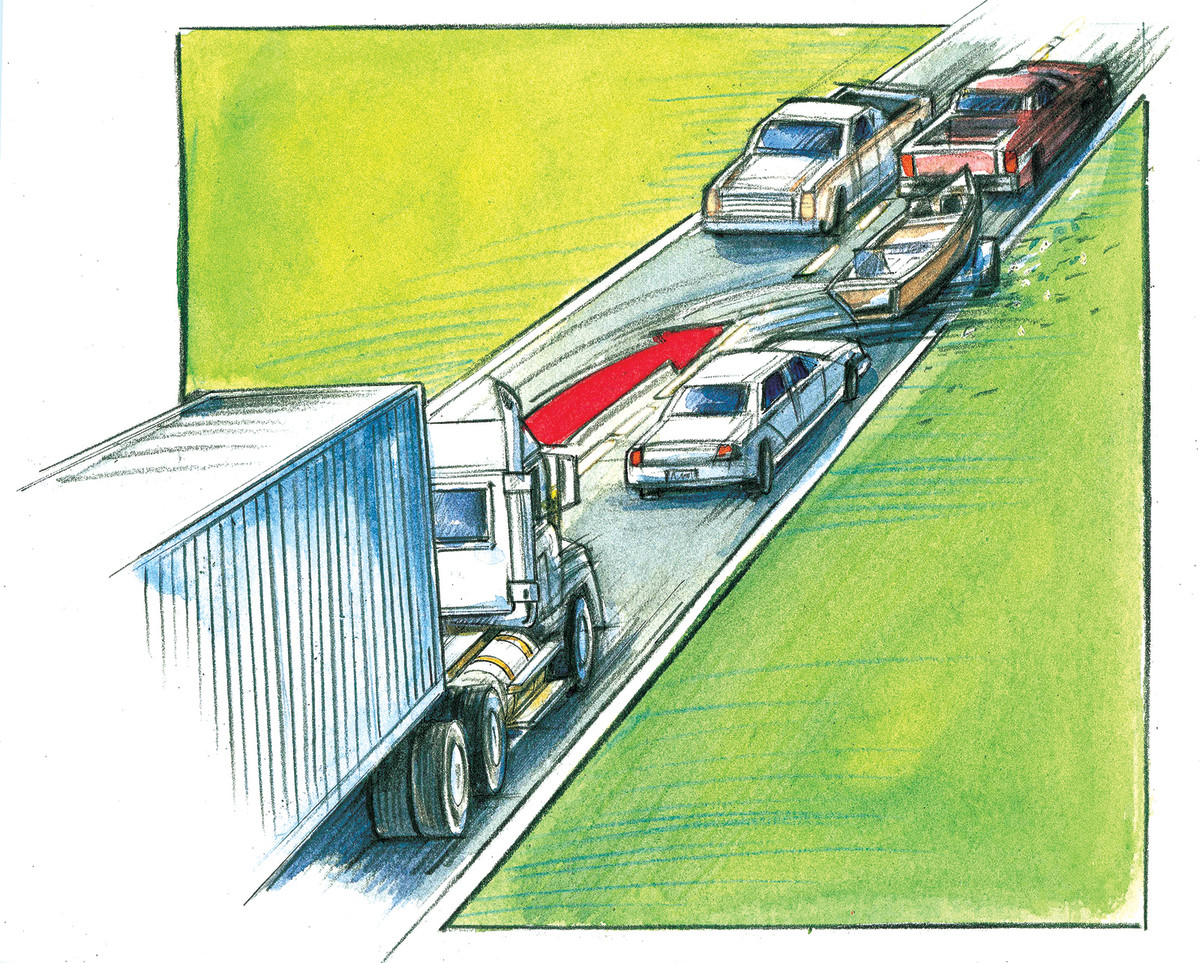 The author was nearly killed by a driver heading west on an eastbound highway.