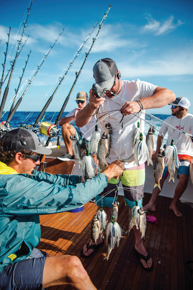 Rigging baits is one of the mate's mostimportant jobs, as tournament success depends heavily on proper presentation.