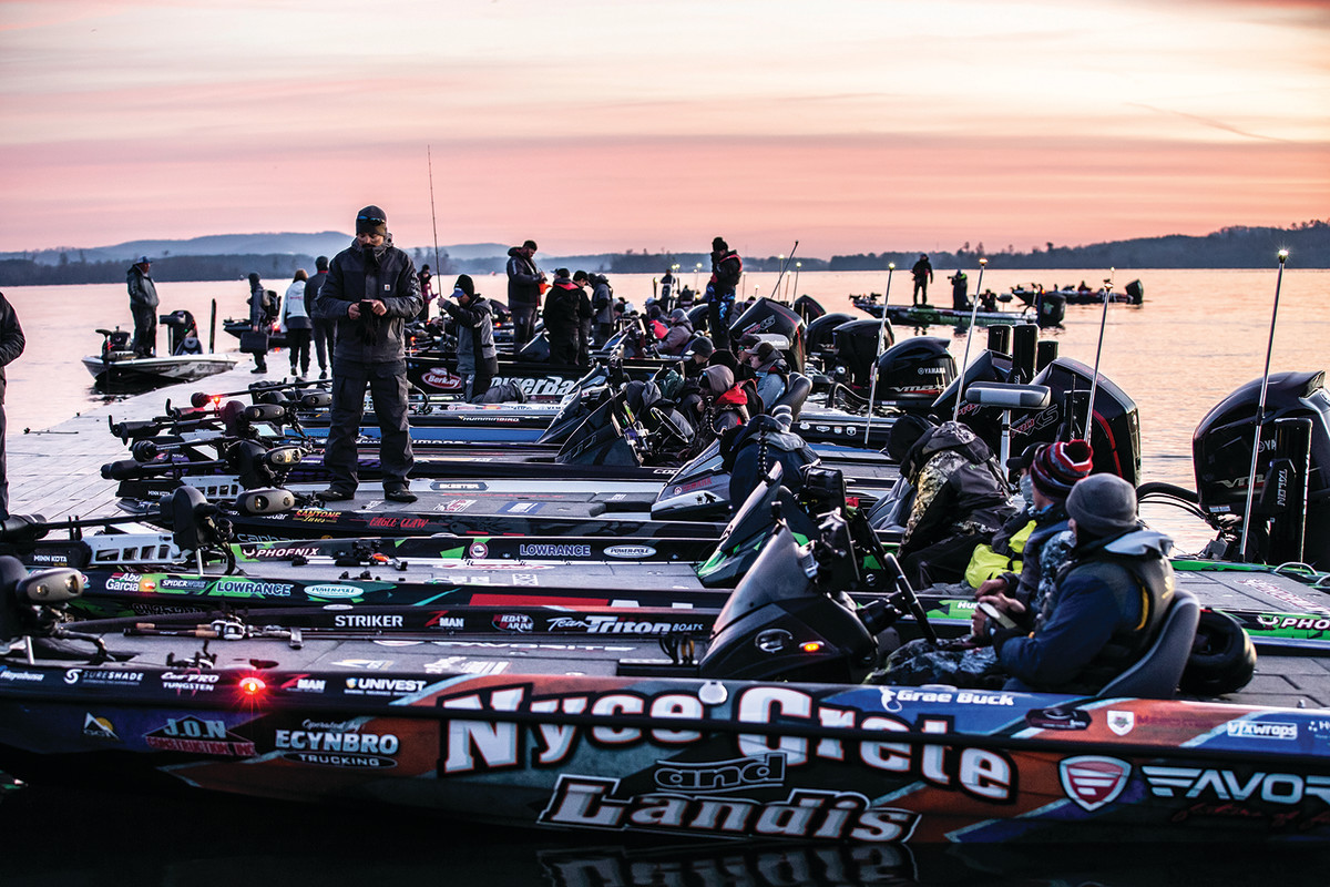 Anglers prepare for a long day of competitive fishing at the Bassmaster Classic.